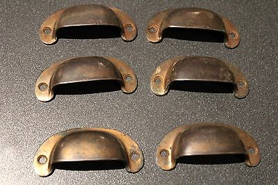 Antique Set Of 6 Cast Brass Victorian Cup Handle Drawer Pull Cabinet Cupboard