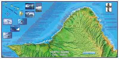 Oahu North Shore Surfing Hawaii Map Poster by Franko Maps