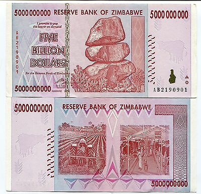 Zimbabwe 2008 5 Billion Xf Money Inflation Currency - P 84 - Inflation Currency