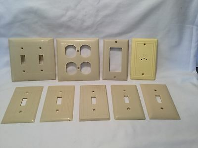 Mid Century ~ Mixed Lot Ivory Bakelite Art Deco Switch Plate/ Outlet/ Tv Covers