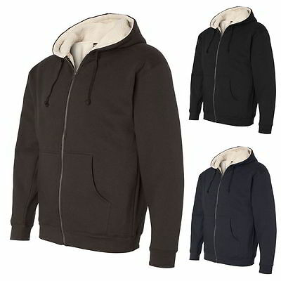 Independent Trading Co. Men Sherpa Lined Full-Zip Hooded Sweatshirt EXP40SHZ