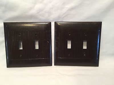 Vintage ~ Lot Of 2 ~ Sierra  Brown  Ribbed Bakelite Switch Plate Cover/art Deco