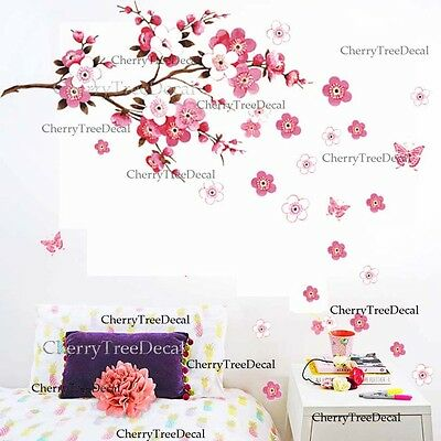 Large Cherry Blossom Flower Butterfly Tree Wall Stickers Art Decal Home Decor UK