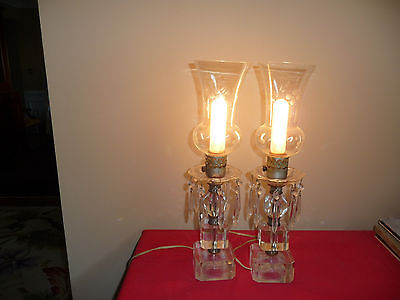 2 Vintage Mantle Luster Hurricane Lamp W/Prisms Etched Glass Shades