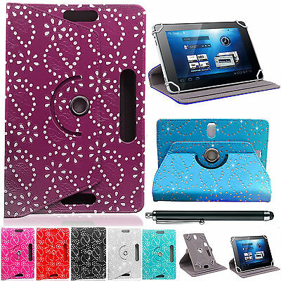 "Bling Diamond UNIVERSAL360°LEATHER STAND CASE COVER For All 10"",10.1""Tab,Android"