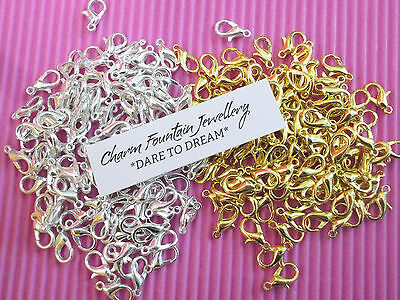 JEWELLERY BULK FINDING SUPPLY LOBSTER CLASP SILVERPLATED GOLDPLATED 10 12mm (L1)