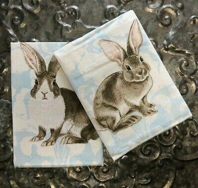 WILLIAMS SONOMA~Painterly Damask Bunny Rabbit Dish Kitchen Towels~Set of 2~NWT!