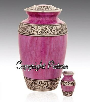 New Metal Cremation Urn, Classic Lotus Pink and Silver - Adult Urn~Free Keepsake