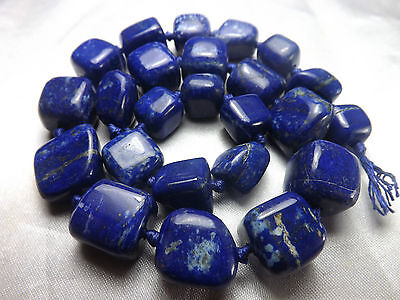 Superb  100% Natural Royal Blue Tumble Shaped Lapis Beads Strand Necklace LP26