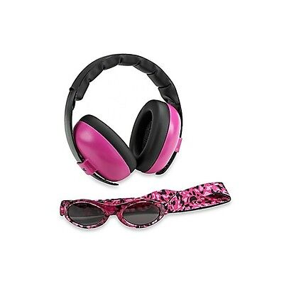 NEW Baby Banz Adventure Sunglasses Earmuffs Combo Magenta Pink Tortoise Kids UV