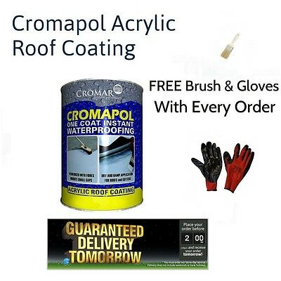 Cromapol Acrylic Waterproofing Roof Coating | Roof Repair | Free Brush & Gloves