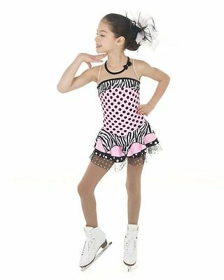 Competition Skating Dress Elite Xpression Pink Black Polka Dots 1445 AS SMALL