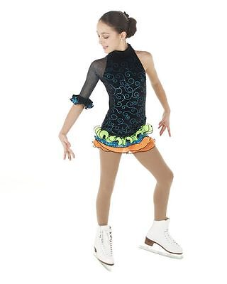 New Competition Skating Dress Elite Xpression 1 Sleeve Blue Scroll 1429 CL 10-12