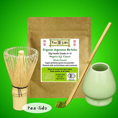 30g JAPANESE MATCHA Green Tea Powder, ORGANIC, Uji, Kyoto,Whisk,Scoop,Spoon,set