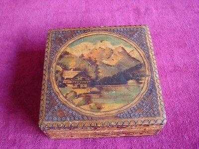 Wonderful Antique Early 20th C.~Arts & Crafts Pyrography Wood Box~Mountain House