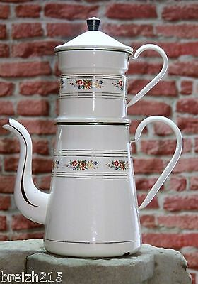 Vintage French Enameled Coffee Pot Flower