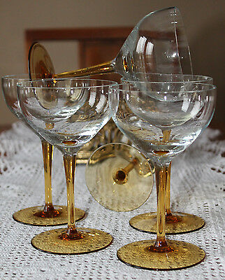 Set of Six (6) Saucer Champagne Glasses with Pretty Amber Stems
