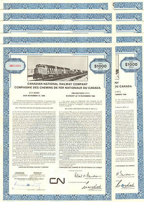LOT OF 10 CN > Canadian National Railroad bond certificates