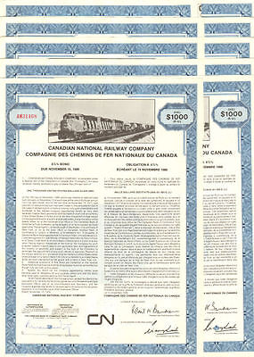 LOT OF 10 CN   Canadian National Railroad bond certificates