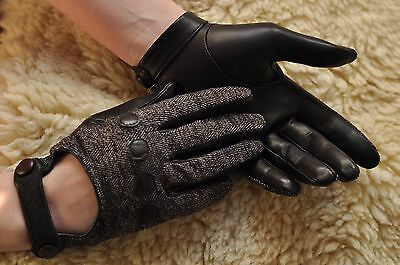 Classic Women Italian nappa Leather and  cotton driving backless hole Gloves
