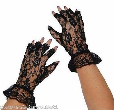 Ladies Fancy Dress Up Costume Accessories 20's Lace Gloves Fingerless Black