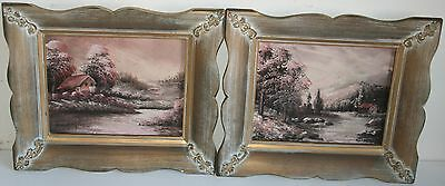 Pair of Old New England Landscape Oil Painting by Listed Artist Joseph Collazzi
