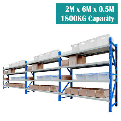 2M x 6M x 0.5M NEW WAREHOUSE GARAGE METAL SHELVING RACKING HOLD UP TO 1800KG
