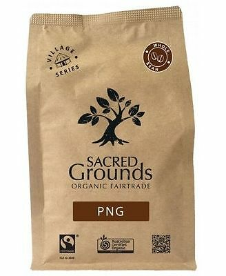 Sacred Grounds Organic Fairtrade PNG Coffee Grounds (Whole Bean) 250g