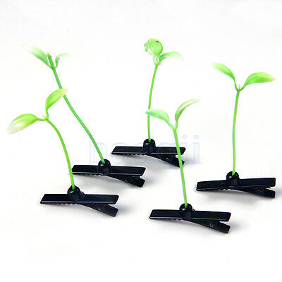 10X Funny Grass Leaf Plant Sprout Flower Antenna Headwear Hairpins Hair Clip MA