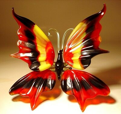 "Blown Glass Figurine ""Murano"" Art Insect Red, Black and Yellow BUTTERFLY"