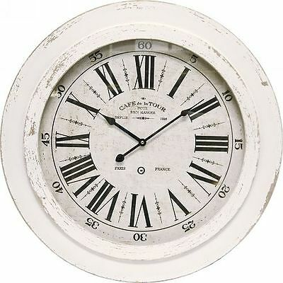 Shabby White French Provincial Distressed Wood Vintage Wall Clock Roman Numerals