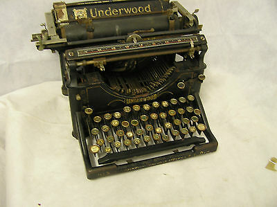 Antique Underwood TypeWriter For Display or Parts