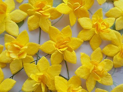 100 Lovely Handmade Mulberry Daffodils - Easter Yellow Daffodil Narcissus Flower