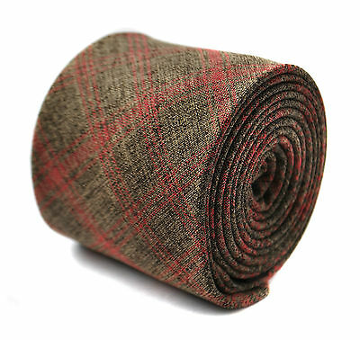 Frederick Thomas linen brown & red check skinny mens tie FT2014