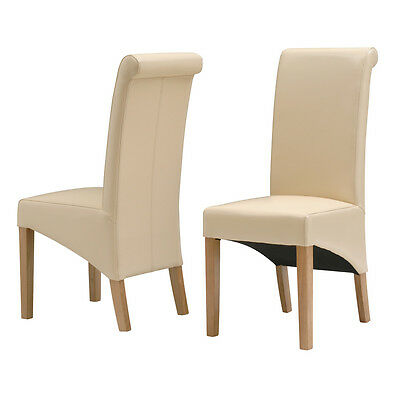 Premium Ivory Leather Dining Chair Fully assembled Solid Oak Legs RRP £129.00