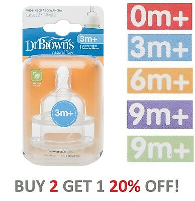 Dr Brown's Teats Baby Infant Bottle Natural Flow Teats BPA Free Wide Neck Size