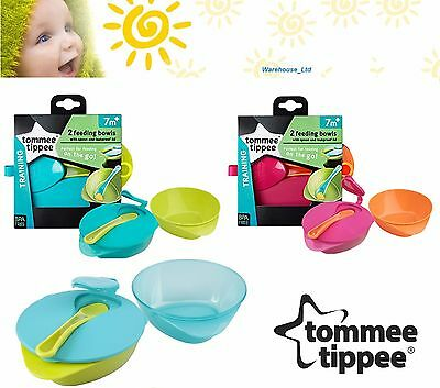 Explora Easy Scoop Weaning Bowl & Lid Twin Pack 2 Colour Baby Feeding Bowl Spoon