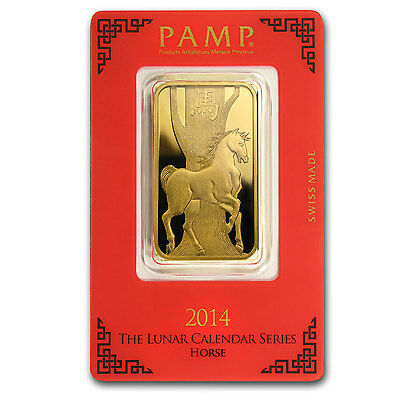 1 oz Pamp Suisse Year of the Horse Gold Bar - In Assay Card - SKU #80052