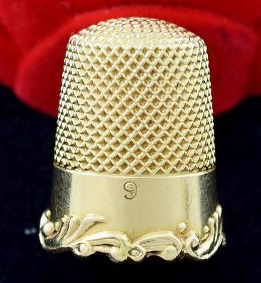 14 Karat Solid Gold Thimble Number 9 Monogrammed Pristine Condition ~ Lot 085