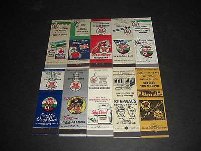 Lot of 10 Texaco Gas and Oil Matchbook Covers Front Strike Unstruck #1