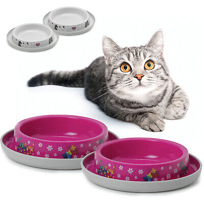 2 Cat Bowls 4 Colours Bowl Food Water Dish Feeding Kitten Bone Dog  Pet Animal