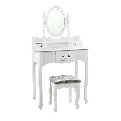 Luxury 3 Drawer Dressing Table & Stool With Mirror & Jewellery Cabinet White