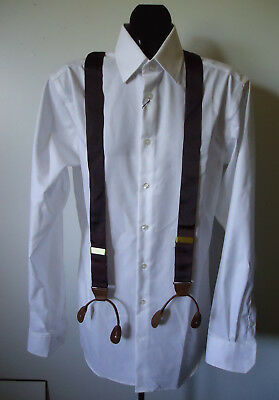 "EUC VTG 80s MENS 1.5""  RIBBON SUSPENDERS BUTTON BRACES LEATHER TRIM PERRY ELLIS"