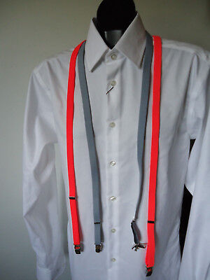 "2 LOT EUC VTG 80s MENS SKINNY 1/2"" ELASTIC SUSPENDERS NEON PINK & GREY NEW WAVE"