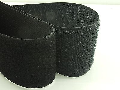 1M or 2M x High Quality BLACK 50mm Width SEW On HOOK and LOOP Fastener TAPE