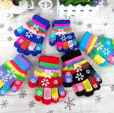 For 2-5 Years Old Kids Boys Girls Winter Gloves Mittens Cute Warm Knitting Glove