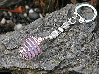 Amethyst Crystal Tumble Stone Key Ring - Purple
