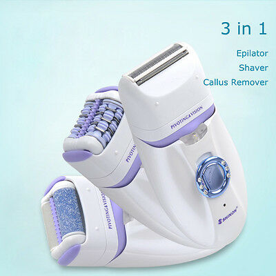 Rechargeable 3 In 1 Lady Body Hair Epilator Shaver Callous Hard Skin Remover Kit