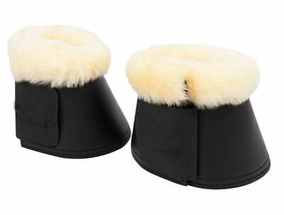 NEW Horse BELL BOOTS with LAMBS  WOOL Training Cob