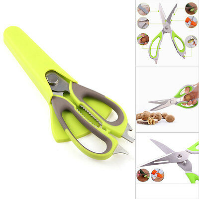 Multi Function Kitchen Scissors Shears with Magnetic Holder Green